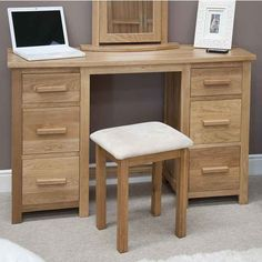 Opus Oak Twin Pedestal Dressing Table and Stool