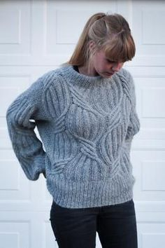 Cable lover - get your cable on here! Stine's Sweater is a beautiful sweater with cables like no other. The oversize look combined with the delicate cables makes the sweater both comfy and feminine at the same time. Jumper Knitting Pattern, Cable Knitting, Baby Knitting Patterns, Creative Knitting, How To Purl Knit, Sweater Weather, Knitwear, Feminine, Comfy