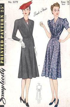 Simplicity 3279; ©1939; Misses' Dress. A Flattering waistline achieved by tie-ends is cut in one with blouse fronts. Back of blouse extends over the front in yoke effect. Skirt flares softly. dress may be with long sleeves, darted at top, or short sleeves, gathered at top and tucked in lower edge.