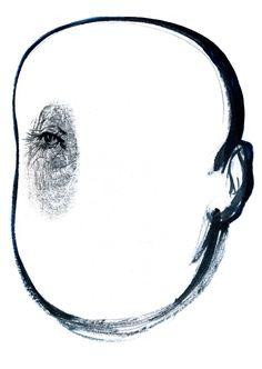 """Eye Withou A Face. Illustration for the book """"Cronista della solitudine"""" di Antonio Veneziani. Ink+Acrylic and pencil on Paperwood. Hacca Edizioni. 2007."""