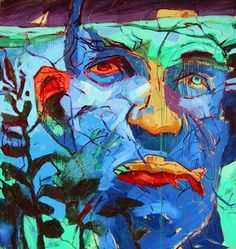 Sailing to Bird Island  6 x 7' oil on canvas, by William Barnhart