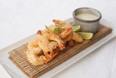 Food - Canapes Hot Crispy tempura battered prawns, wasabi mayonnaise, lime salt