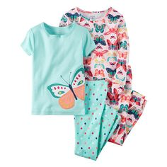4-piece set. No-pinch elastic waistband. Ribbed cuffs. Character applique. Allover prints. Tacked bows.<br><br>Carter's is the leading brand of children's clothing, gifts and accessories in the United States today, selling more than 10 products for every child born in U.S. Trusted by generations of families for making life easier, Carter's creates a full range of innovative, quality baby and children's products that have provided solutions for real life since 1865...