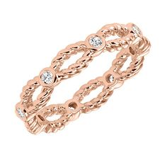 Rose gold diamond wedding band with rope detail. So pretty as a wedding ring, anniversary band or stackable ring! #ArtCarvedStackables #ArtCarvedBridal