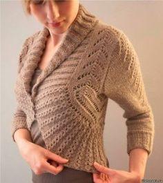 Жакет-болеро с закругленными полочками (Вязание спицами)