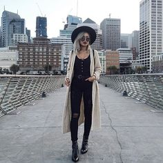 paudictado: Love how I'm able to wear my my knits in this SF weather~ Wearing @boohoo cardi • @missguided bodysuit • @articlesofsociety jeans • @circusbysamedelman boots • @lackofcoloraus hat #pauventures