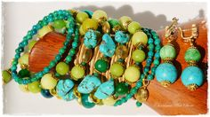 Turquoise & green-yellow jewelry set «Mojito» by Charisma Art Store, wide memory - bracelet and earrings, turquoise, agate by CharismaArtStore on Etsy