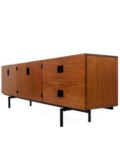 Teak sideboard 'DU 04′ / Japanese series designed by Cees Braakman Produced by UMS Pastoe, Netherlands, Teak, black steel, 1958