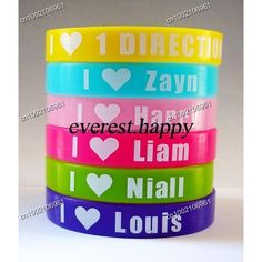 I love One Direction wristband, I love Luis, Zayn, Harry, Niall, Liam,... ❤ liked on Polyvore