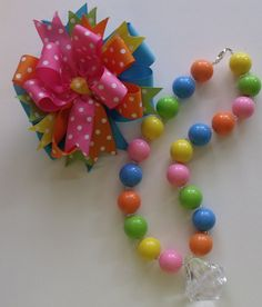 Bubblegum Necklace and Matching Hair Bow  by ThePalmettoBaby, $23.00