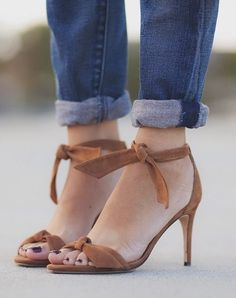 Alexandre Birman Camel Suede Ankle Tie Heeled Sandals by Alterations Needed Sandals 2014, Shoes Sandals, Heeled Sandals, Crazy Shoes, New Shoes, Me Too Shoes, Tie Heels, Shoe Boots, Shoe Bag