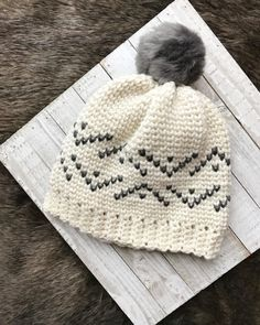 Fair Isle Crochet Pattern / crochet hat pattern / pdf crochet pattern / everest beanie crochet pattern / fur pom pom beanie / knit look crochet / pattern for crochet / crochet pattern for women