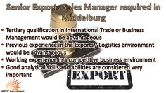 Snr Exports Sales Maanager