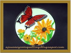 A Journey into Quilling & Paper Crafting - Graphic quilled Sunflowers and Butterfly Picture Frame