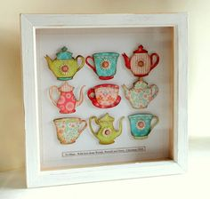 Tea pots and cups in a shadow box -- pieces mounted with pop dots. Crafts To Do, Arts And Crafts, Paper Crafts, Diy Crafts, Tee Kunst, Tea Art, Home And Deco, Box Frames, Framed Art