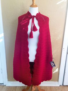 Crochet Vintage Cape - Handmade Cape Cloak -Red Knit - Medium - Extra Large Plus Size