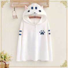 Students cat hooded fleece pullover from Fashion Kawaii [Japan & Korea]