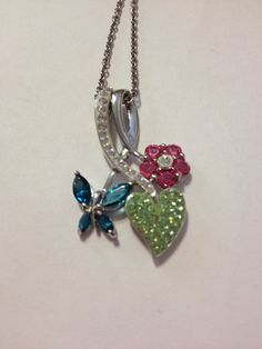 "Swarovski Sterling Necklace  Blue Topaz Pink Sapphire Peridot Crystals 18"" Silver Pendant Chain Kay Jewelers NIB New Boxed Jewelry Gift on Etsy, $65.00"