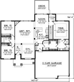 1800 sq/ft. Open floor plan with 3 beddrooms and computer nook. 3 car garage, no bonus room. http://www.architecturaldesigns.com/house-plan-89793AH.asp#