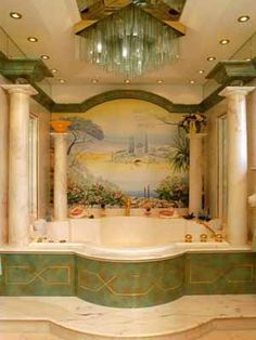 Unusual Decorative Wall Painting Ideas for Bathroom - Art and Decoration Modern Bathroom Design, Bathroom Interior Design, Modern Bathrooms, Dream Home Design, House Design, Wall Painting Decor, Wall Decor, Gravity Home, Victorian Bathroom