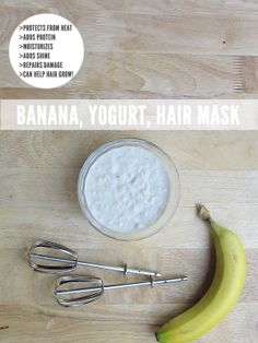 DIY hair repair: banana yogurt hair mask : helps with hair growth, protects, and strengthens! 1 banana, 1 cup of Greek yogurt and cup of grape seed oil Natural Hair Care, Natural Hair Styles, Protein Hair Mask, Yogurt Hair Mask, Help Hair Grow, Beauty Hacks, Beauty Tips, Beauty Stuff, Beauty Ideas