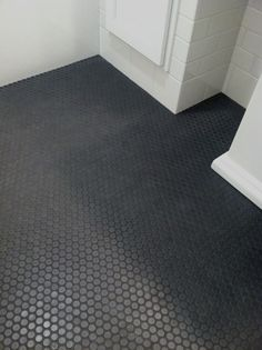 Black Penny Tile Floor, Steve Carbin Bathroom Remodel