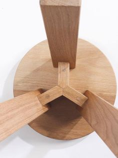 Savor the sturdy strength and simple complexity of this wooden stool's three-legged, pegged joinery! ONE/THIRD - Tim & Tom Woodworking Joints, Woodworking Projects, Woodworking Plans, Woodworking Classes, Joinery Details, Wood Joints, Into The Woods, Wood Stool, Diy Holz