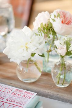 single bloom vases Photography by Ashlee Raubach / ashleeraubach.com, Wedding Planning and Design by Nicole Davis Design / meohmy.blogspot.com, Floral Design by Twig and Twine / twigandtwinedesign.com