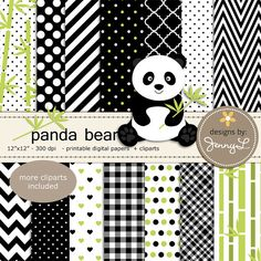 Panda Bear Digital Papers and Clipart by JennyLDesignsShop on Etsy