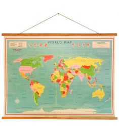 Map Vintage Style School World Poster by Ellie Ellie Map Vintage, Vintage Posters, Vintage World Maps, Retro Vintage, Vintage Style, Vintage Inspired, World Map Poster, World Map Wall, Map Posters