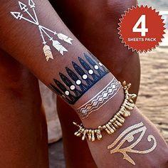 FLASH Metallic Temporary Jewelry Tattoos-MEGA Pack of 4-Hot New TREND. HIGH QUALITY, Popular, Sexy & Beautiful Skin Jewel Tattoo. Gold, Silver & Black. Necklace, Bracelets, Hands Styles & More. Worn by BEYONCE. COOL, Creative, Great Gift Ideas for Women, Teens, Girls & Kids!, http://www.amazon.com/dp/B00RM4S2JI/ref=cm_sw_r_pi_awdm_kUJ0ub0HC3D49