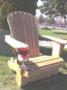 Wine Glass Holder: Relax and enjoy your favorite vintage without having to worry about spilling a drop. Easy to install, fits on any of the chairs we manufacture, and even other manufacturers chairs too! Shop now: Outdoor Chairs, Outdoor Furniture, Outdoor Decor, Adirondack Chair Cushions, Wine Glass Holder, Chair Covers, Woodworking Projects, Relax, Drop