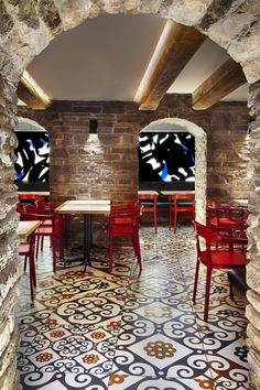 Gaudí inspired ceramic floor tiles for Canadian tapas restaurant