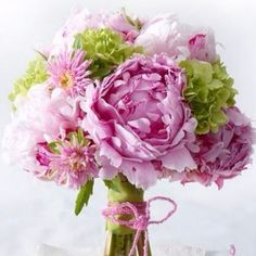 Stunning green and pink bouquet