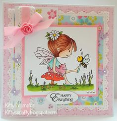 Hi all :) Today I am back with another Lili Of The Valley card. This one features one of the fabulous new fairy images which will be re. Cute Fairy, Kids Birthday Cards, Lily Of The Valley, Cool Cards, I Card, Kitty, Happy, Stamp Sets, Blog