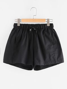 Elastic Drawstring Waist Hidden Pocket Shorts