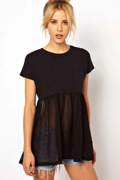 Black Short Sleeve Contrast Sheer Chiffon T-Shirt pictures