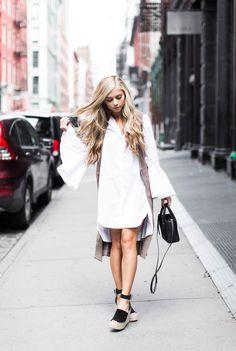 Bell sleeve white button down dress + suede vest + espadrille sandals