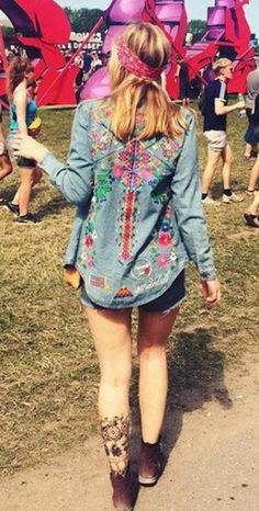 Embroidery Floral Denim Button Down Shirt