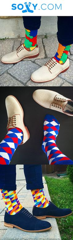 The perfect gift for a man who loves fun socks. With thousands of members worldw. - Wedding And Engagement Fun Socks, Crazy Socks, Happy Socks, Boot Socks, Look Fashion, Mens Fashion, Le Male, Colorful Socks, Dress Socks