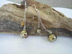 earrings with glass hollow gold beads by whitethistleglass on Etsy, $40.00