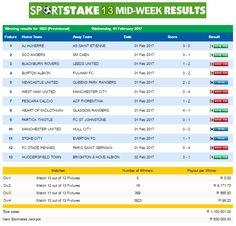 #SportStake13 Mid-Week Results - 01 February 2017  https://www.playcasino.co.za/sportstake-mid-week-results-01-february-2017.html