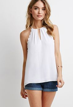 Scallop Crochet-Trimmed Halter Top | LOVE21 | #f21contemporary