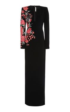 Naeem Khan Floral-Embroidered Crepe Gown Party Wear Dresses, Ball Dresses, Evening Dresses, Ball Gowns, Afternoon Dresses, Flapper Dresses, Kpop Fashion Outfits, Fashion Dresses, Naeem Khan