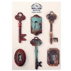 Six antique-style lock and key-themed magnets.Product: 6 Piece magnet setConstruction Material: MDF and magnet