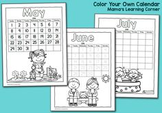 Color Your Own Calendar 2016 - printable calendar for kids
