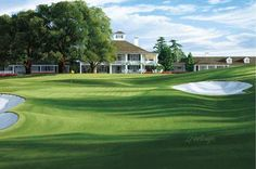18th Hole, 'Holly', Augusta golf course canvas painting by Linda Hartough. http://golfpicture.com/18th-hole,-'holly',-augusta.html