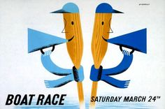 Oxford and Cambridge Underground poster - Boat Race, by Tom Eckersley, 1951