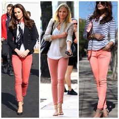 """Salmon pink coral skinny jeans These trendy pinky salmon colored ankle length skinny jeans are on trend with this spring and summer's latest fashion. 27.5"""" length, with plenty of stretch to allow for the perfect fit! Seven7 Jeans Ankle & Cropped"""
