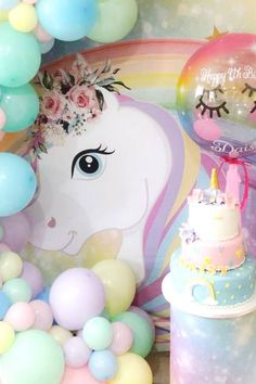 Don't miss this magical unicorn birthday party! Love the dessert table!! See more party ideas and share yours at CatchMyParty.com  #catchmyparty #partyideas #unicorn #unicornparty #girlbirthdayparty